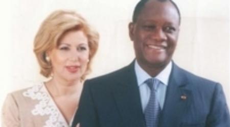 Alassane Ouattara et son épouse Dominique.