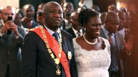 Le Président de la République Laurent Gbagbo et son épouse Simone Ehivet, le jour de son investiture.