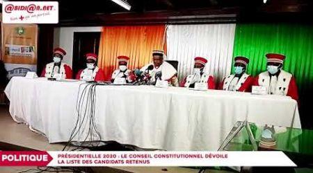 Présidentielle 2020 : Le conseil constitutionnel dévoile la liste définitive des candidats retenus