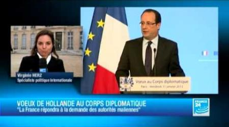 "La France prête à ""arrêter l'offensive"" des islamistes, affirme François Hollande"
