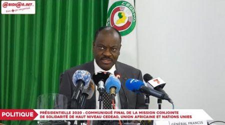 Présidentielle 2020: Communiqué de la mission conjointe de solidarité de haut niveau