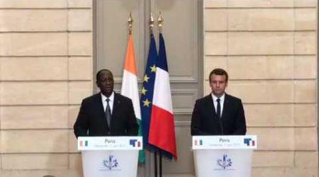 Conférence de presse du président Macron et Alassane Ouattara à l'Elysée