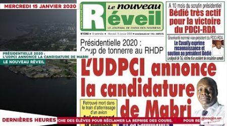 Le Titrologue du 15 janvier 2020 Présidentielle 2020, coup de tonnerre au RHDP