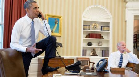 PHOTO: Barack Obama et son vice-Président à la Maison Blanche, le 31 août 2013. AP par Charles Dharapak.